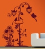 Creative Width Vinyl Birds N the Lamp Post Wall Sticker in Burgundy