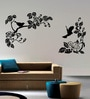 Creative Width Vinyl Blooming Birds Wall Sticker in Black