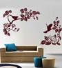Creative Width Vinyl Blooming Birds Wall Sticker in Burgundy
