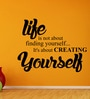 Creative Width Vinyl Creating Yourself Three Wall Sticker in Black