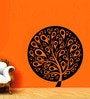 Creative Width Vinyl Ethnic Tree 1 Wall Sticker in Black