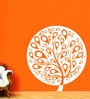 Creative Width Vinyl Ethnic Tree 1 Wall Sticker in White
