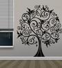 Creative Width Vinyl Ethnic Tree 2 Wall Sticker in Black