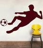 Creative Width Vinyl Footballer Wall Sticker in Burgundy