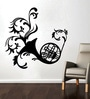 Creative Width Vinyl French Horn Wall Sticker in Black