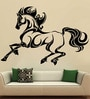 Creative Width Vinyl Horse On Mission Wall Sticker in Black