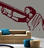 Creative Width Vinyl Mother India Wall Sticker in Burgundy