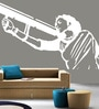 Creative Width Vinyl Mother India Wall Sticker in White