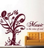 Creative Width Vinyl Music Is The Voice Of Soul Wall Sticker in Burgundy