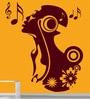 Creative Width Vinyl Singing Girl Wall Sticker in Burgundy