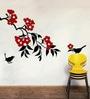 Creative Width Vinyl Sparrows On Branch Wall Sticker in Black & Red