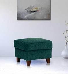 Cushioned Pouffe In Green Colour By Crescent