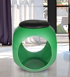 Cushioned Stool In Green & Black Colour