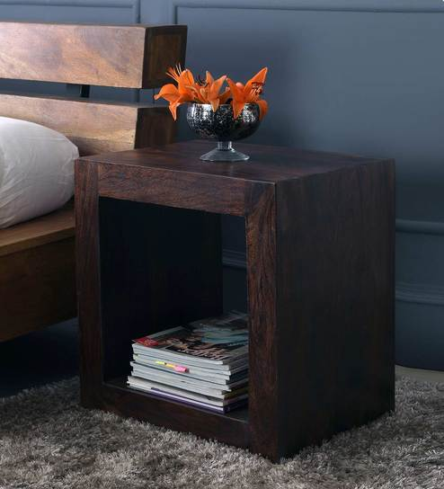 Cube End Table in Dark Walnut Finish by The ArmChair