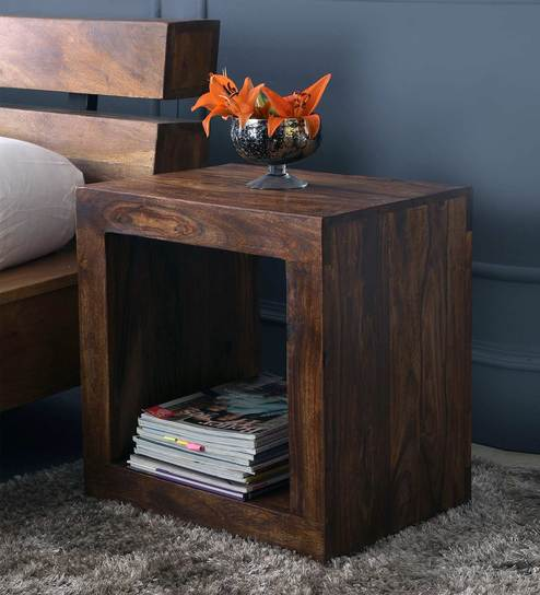 Superieur Cube End Table In Light Walnut Finish By The ArmChair