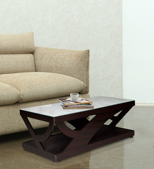 Curve Center Table With Glass Top In Dark Brown Colour By Karigar