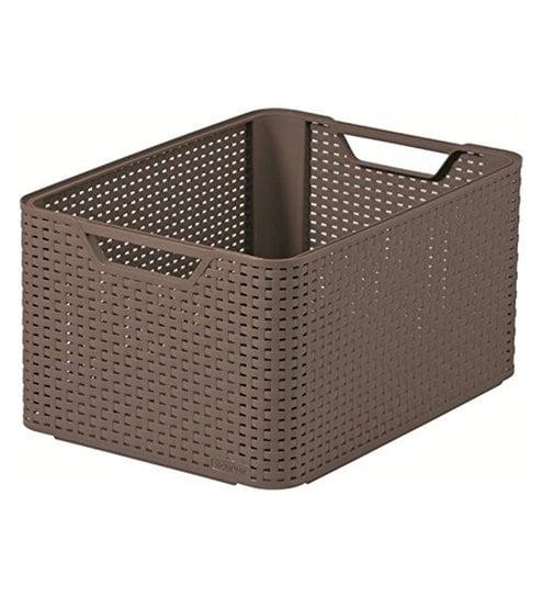 buy curver 3616 plastic brown large storage box online. Black Bedroom Furniture Sets. Home Design Ideas