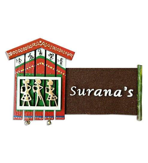 Customisable Multicolour Mdf Wood Tribal Art Design Name Plate By Craftedindia