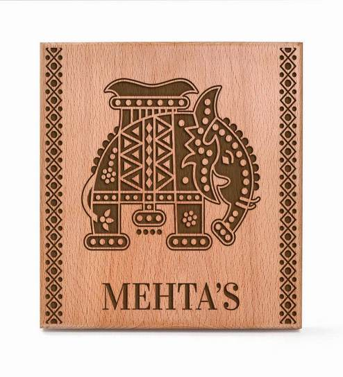 Customizable Brown Steamed Beech Timber Gajapati Name Plate By Engrave