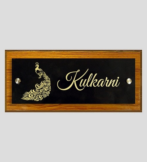 Customizable Teakwood Acrylic Peacock Float Name Plate By Engrave