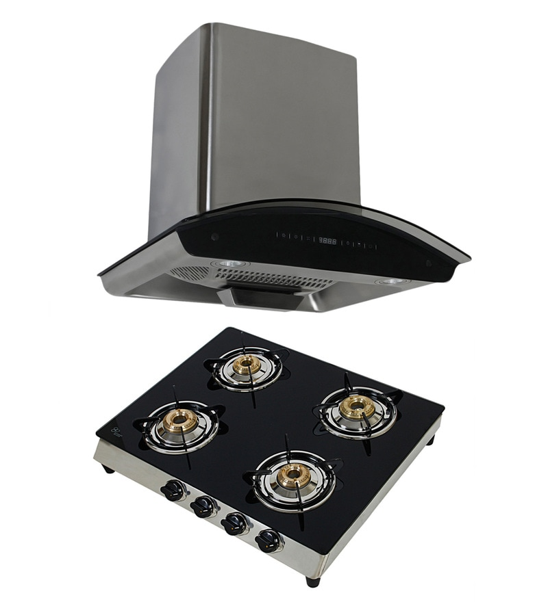 Cubix 1007 60 Cm Hood Chimney & 4-Burner Ai Cooktop Combo