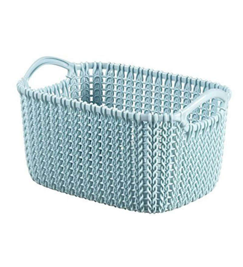 Curver Sand Knit Storage Baskets: Buy Curver 03675 Plastic Blue 3 L Knit Rectangular Extra