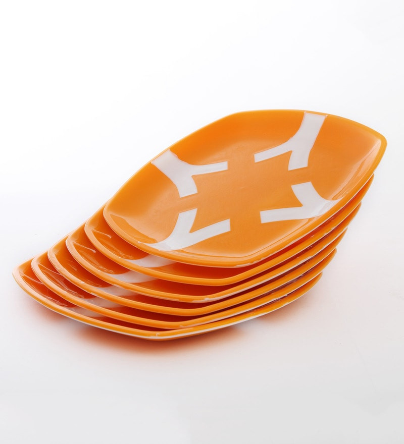 Cutting Edge Microwave Safe Orange & White Polypropylene Dinner Plates - Set of 6