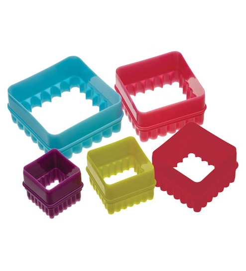 Kitchen Craft Uk Cw Plastic Square Cookie Cutter 5 Pcs Set By