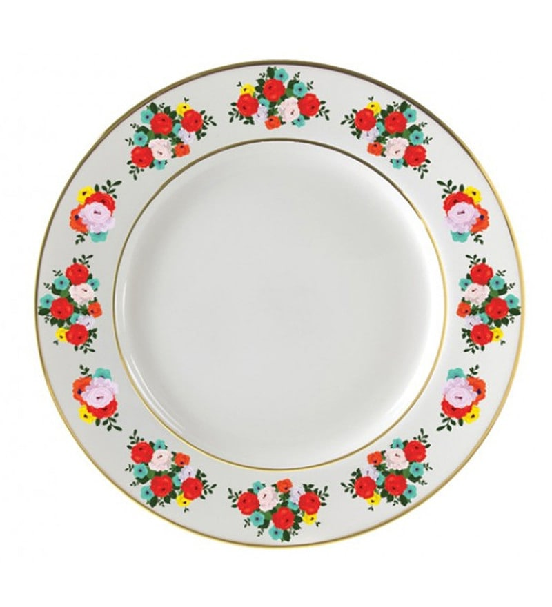 Cyahi Rosy Delight Multicolour Porcelain Quarter Plate