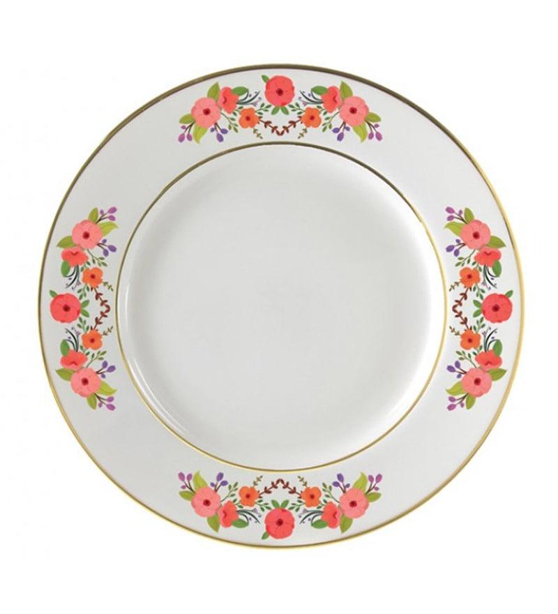 Cyahi Wild Flowers Multicolour Porcelain Quarter Plate