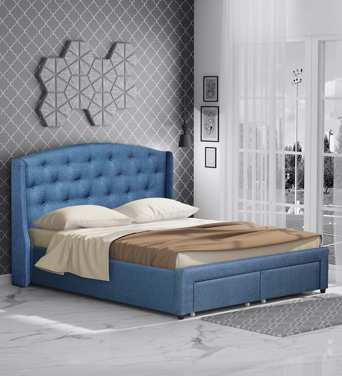 Buy Danilo Upholstered Queen Size Bed In Navy Blue Colour With Storage Drawers Casacraft By Pepperfry Online Queen Size Upholstered Beds Beds Furniture Pepperfry Product