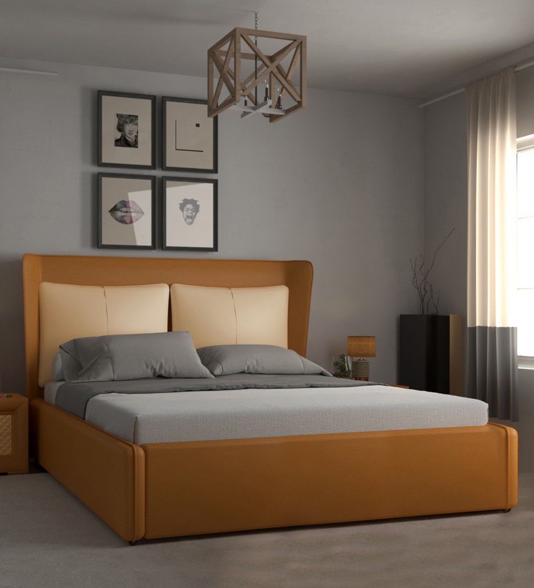 Buy Davis King Size Upholstered Bed With Hydraulic Storage In Tan Colour By Home City Online King Size Upholstered Beds Beds Furniture Pepperfry Product