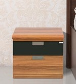 Daffodil Bedside Table in Black & Walnut Finish