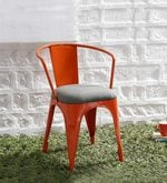 Danlou Metal Chair with Cushion In Orange Colour