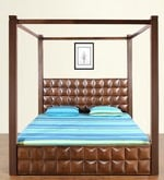 David Queen Size Poster Bed with Storage in Dark Walnut Finish