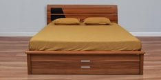 Daffodil King Bed with Storage in Teak Finish