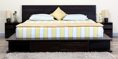 Dayton Queen Bed with Storage & Bedside Tables in Warm Chestnut Finish