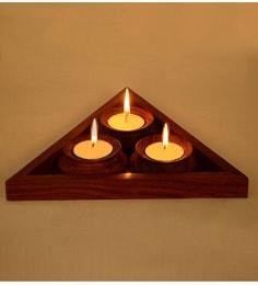Dark Brown Sheesham Wood Triangular Table Tea Lights Holder