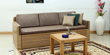 Dallas Sofa Cum Bed With Storage In Brown Colour