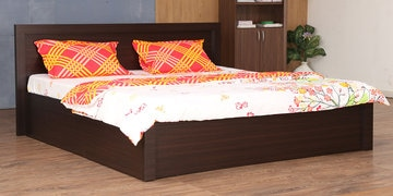 Dazzle Queen Bed With Box Storage In Brown Finish