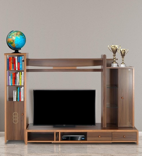 Buy Daisy Wall TV Unit in Light Brown Finish by Royal Oak Online ...