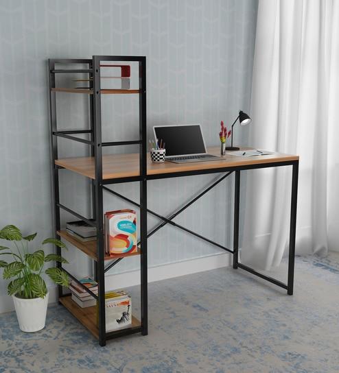 Dalton Study Table Cum Bookshelf In Walnut Finish By Home