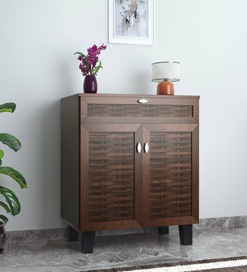 buy dane two dooor with drawer shoe cabinet in walnut finish by