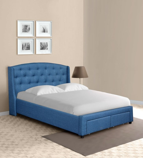 Buy Danilo King Size Bed In Navy Blue Colour With Storage Drawers By