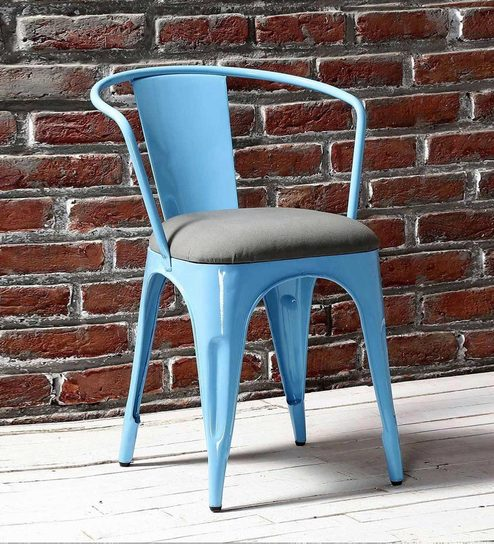 Bon Danlou Metal Chair With Cushion In Blue Colour By Bohemiana