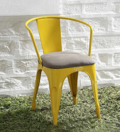 Danlou Metal Chair With Cushion In Yellow Colour By Bohemiana