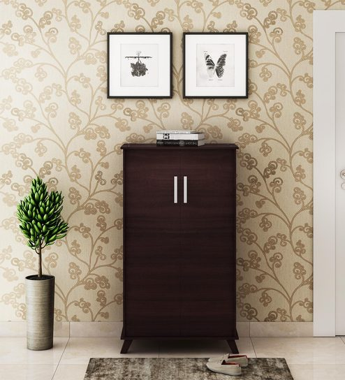 Danuja Two Door Tall Shoe Cabinet In Wenge Finish By Mintwud