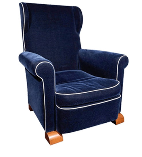 Buy Dark Blue Rich Fabric Wingback Chair With Rolled Arms In Blue