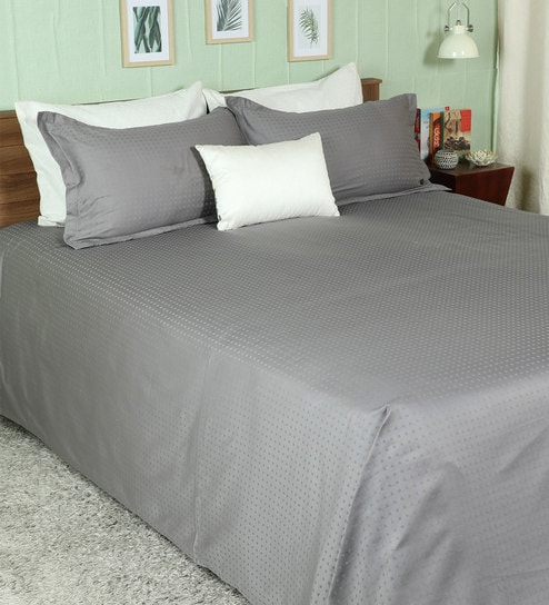 Buy Dark Gray 100 Cotton Dobby Solid Super King Bed Sheet With 2