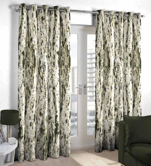 Dark Green Poly Cotton Door Curtain By Skipper